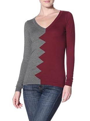 Kier & J Women's Zig Zag Sweater (Oxblood/Grey)