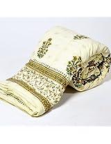 Little India Jaipuri Hand Block Print Cotton Single Bed Quilt - White  (DLI3SRZ320)