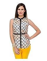 Yepme Women's Black & Beige Polyester Tops YPMTOPS0416_XL