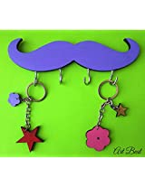 ART BEAT PURPLE MUSTACHE KEY HOOK