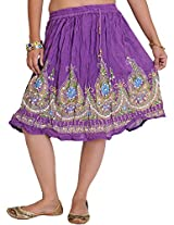 Exotic India Short Skirt With Printed Flowers and Embroidered Sequins - Color Amaranth PurpleGarment Size Free Size