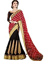 Red Black Wedding Wear Lehenga Saree Embroidered Work Chiffon Saton Net Sari