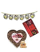 Skylofts 300gms Chocolate coated Raisins Nutties with an attractive candle diya set, a cute teddy & Bandanwaar Diwali combo