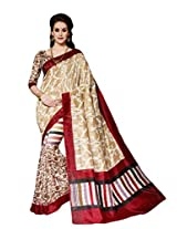 Off White & Beige Colour Faux Bhagalpuri Semi Party Wear Paisley Printed Saree 13324