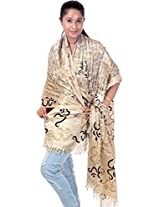 Exotic India Om Gayatri Mantra Prayer Shawl - Color Chamomile And BlackColor Free Size