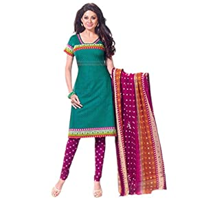 SGC- Green cotton unstitched churidar kameez with dupatta - SH-11514