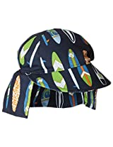 Flap Happy Baby Boys' UPF 50+ Original Microfiber Flap Hat, Catch A Wave, Small