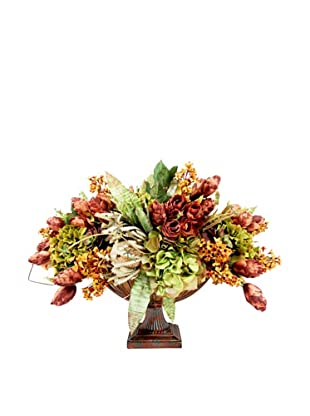 Creative Displays Rose, Green Hydrangea, Banksia & Hops in Metal Urn