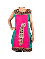 Mruga Women's Patch Work Brocade Design Kurti