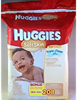 HUGGIES Soft Skin Refill Baby Wipes, 208 sheets