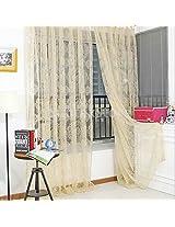 Generic Retro Flocked Floral Voile Door Window Curtain Panel Sheer Tulle Drape Beige