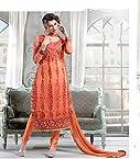 60 gm Georgette Embroidered Orange Semi Stitched Pakistani Suit - 1003