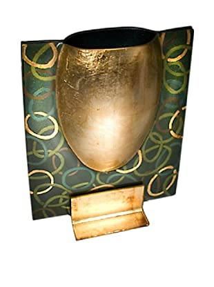 FusionZ Rectangular Bowl Vase (Gold/Green)