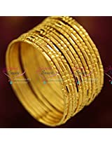 2.6 Size Gold Plated 12 Pieces Bangles Set Party Wear Long Colour Life Online