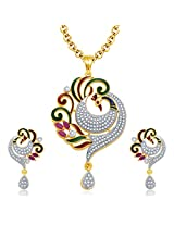 Sukkhi Sensational Peacock Gold And Rhodium Plated Ruby CZ Pendant Set For Women