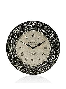 Venezia Clock Design Decorative Metal Wall Plaque (Black/Parchment)
