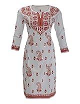 Imperial Chikan Women's Cotton Regular Fit Kurti (3878, White, 44)
