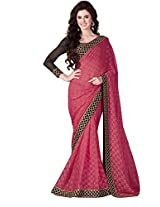 Brasso Pink & Colour Saree for Party Wear