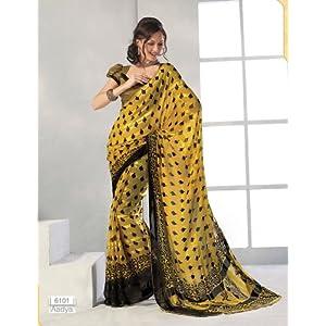 Designer Printed Saree - Golden Yellow and Black