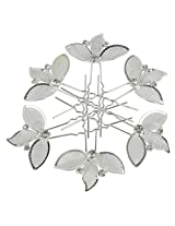 MUCHMORE Fully Silver Color Work 6 Hair Clips For Women Partywear Hair Jewelry