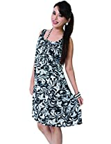 Garden Vareli Womens Satin A-Line Dress (Gardenvareli Western Dress 1016-B _Black _Large)
