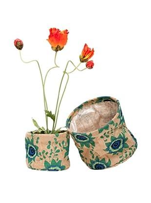 rockflowerpaper Set of 2 Jute Potted Plant Covers (Aqua)