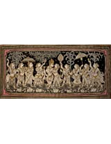 Exotic India Radha and Krishna with Gopis in Attendance - Paata Painting on Tussar Silk Fabric - Art