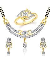 VK Jewels Indian Wedding Combo Ring & Mangalsutra Set- COMBO1153G Size 18 [VKCOMBO1153G18]