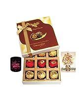 9pc Legend Wrapped Chocolate Box With Birthday Card And Mug - Chocholik Luxury Chocolates