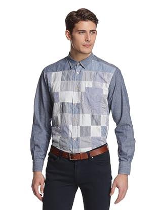 Façonnable Tailored Denim Men's Patchwork Shirt (Stone)