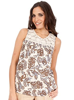 Cortefiel Top Estampado (beige / marrón)