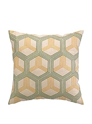 Peking Handicraft Boomerang Pillow, Green/Sunshine