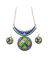 WomanWa Multi-Colour Metal Necklacewith Earring for Women - 10060