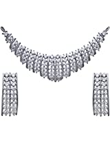Clara Sterling Silver Diamond Look Swarovski Mangalsutra Pendant Earring set for Women