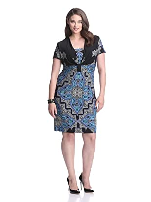 Gabby Skye Women's Short Sleeve Print Dress (Blue/Green)