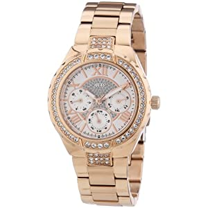 Classic White Trendy Chronopraph Viva Analogue Watch For Women by Guess - Model Number W0111L3