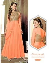 Rozdeal Women Net Embroidered Unstitched 3/4 Sleeve Orange Anarkali Suit
