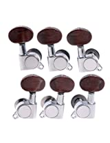 1set 3L3R Chrome K-801 Enclosed Tuning Pegs Machine Head Tuners w/ Amber Plastic Buttons for Acoustic Guitar