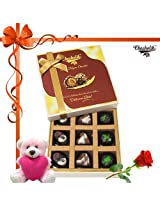 9pc Divine Treat To Your Brother With Rose And Card - Chocholik Belgium Chocolates