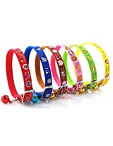 "Cat Collars SET - 6 Colors Collar Bell METAL Buckle Small Pet Dog Puppy Nylon Neck 6"" - 9"""