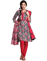 Ethnicvibe Women Cotton Dress Material (Bb210 _Red Black)