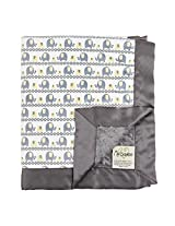 "My Blankee Marching Elephants Minky Charcoal w/ Minky Dot Charcoal Baby Blanket, 30"" x 35"""