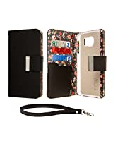 Samsung Galaxy S6 Wallet Case, EMPIRE KLIX Klutch Designer Wallet [4 Slots] Inner Hard Polycarbonate Felt Lining Case for Galaxy S6 with Magnetic Flap & Hand Strap [Perfect Fit & Precise Port] - Vintage Floral