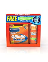 Gillette Fusion Manual Shaving Razor Blades - 8s Pack (Cartridge) with Gillette Fusion Gel Free
