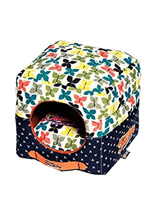 Touchdog Butterfly Convertible/Reversible Squared 2-in-1 Collapsible Dog House Bed, Butterfly Pattern