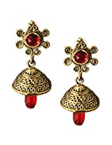 Beingwomen Elegant Red Gold Plated Stone Fashion Alloy Jhumki Earring