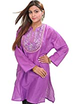 Exotic India Casual Kurti with Sequins Embroidery on Neck - Color DewberryGarment Size Free Size