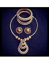Nithish fashions Royal Gold Silk Thread Jewellery full set For Women