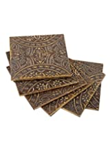 Attractive Natural Wood Coasters Floral Embossed By Rajrang