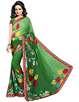 Shree Bahuchar Creation Women's Chiffon Saree(Sbk2, Green)